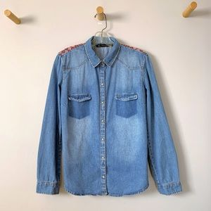 ZARA Blue Denim Snap Up Embroidered Jean Shirt L